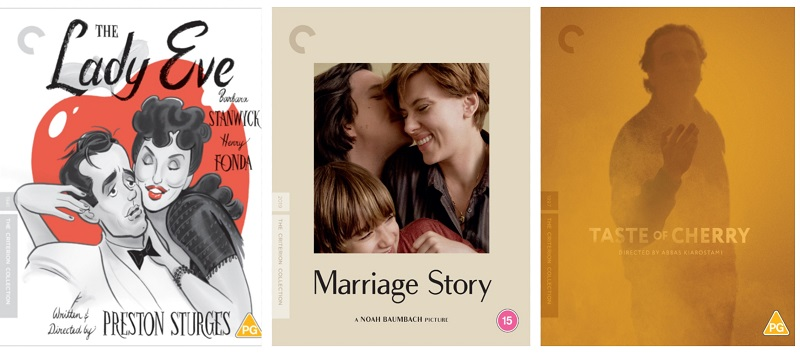 Film Posters for Lady Eve, Marriage Story, Taste of Cheery